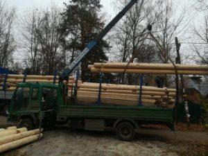 Перевозка сруба манипулятором разборка, сборка, разгрузка лесовозов